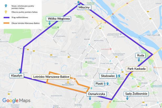 Krąg nadlotniskowy i punkty pomiaru hałasu  Mapa google