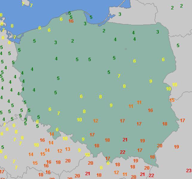 Temperatura maksymalna w poniedziałek (wetteonline.de)