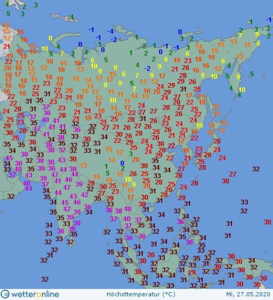 Temperatura maksymalna 27 maja (wetteronline.de)