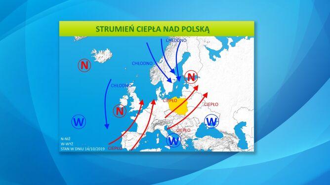 Strumień ciepła nad Polską (tvnmeteo.pl)
