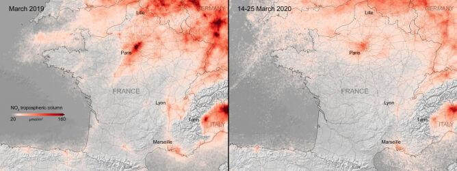 Zdjęcia satelitarne jakości powietrza nad Paryżem z marca 2019 roku i z okresu 14-25 marca 2020 roku (ESA)