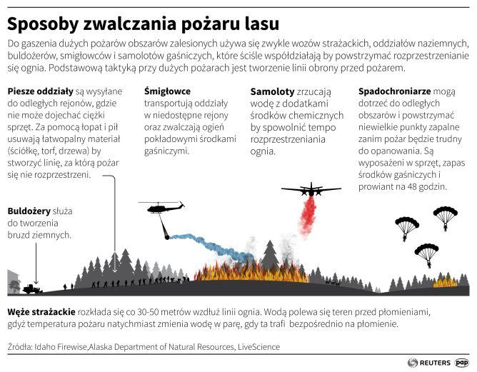 Sposoby zwalczania pożarów lasu (Maciej Zieliński/PAP/Reuters)