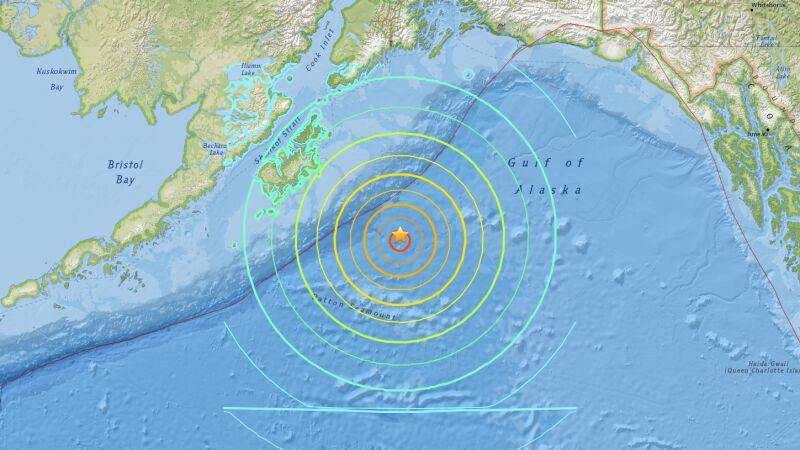 Trzęsienie u wybrzeży Alaski (USGS)
