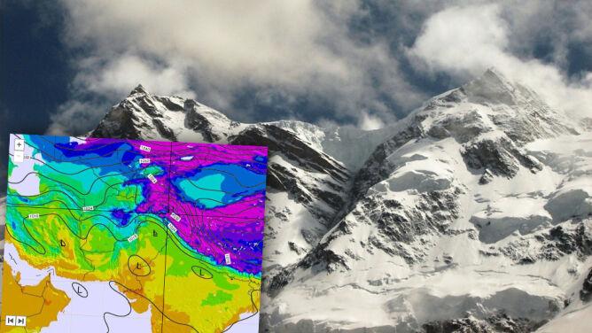Silny wiatr i ekstremalnie niska temperatura. <br />Bardzo trudne warunki w Himalajach
