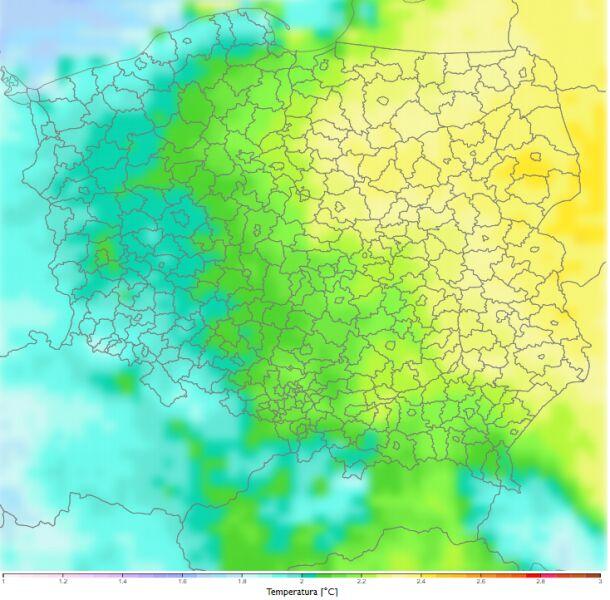Porównanie średniej dobowej temperatury zimą dla dekady 2081-2090 do dekady 2011-2020 według scenariusza RCP4.5 (klimada2.ios.gov.pl)