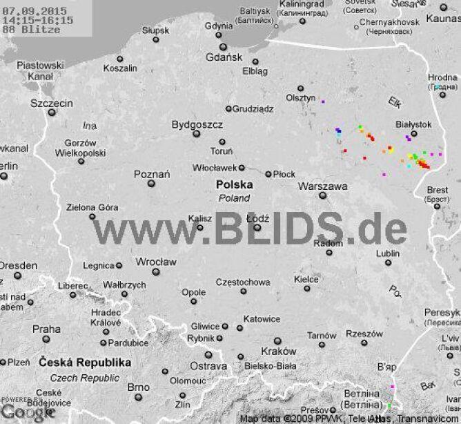Wyładowania atmosferyczne nad Polską z godziny 14.15 - 16.15