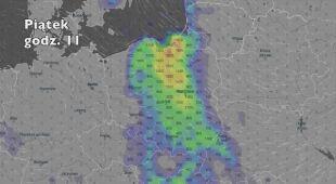Potencjalne miejsce wystąpienia burz (Ventusky.com)